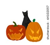 black cat on a pumpkin on a... | Shutterstock . vector #64102057