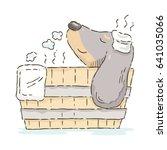 cute cartoon dachshund relaxing ... | Shutterstock .eps vector #641035066