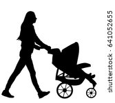 Woman With Baby And Pram Vecto...