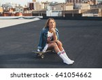 young female in teenager... | Shutterstock . vector #641054662