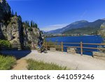 mountain biking on lake garda ... | Shutterstock . vector #641059246