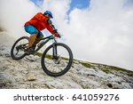 view of cyclist riding mountain ... | Shutterstock . vector #641059276