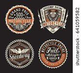 label of motorcycle racing... | Shutterstock .eps vector #641059582