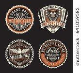 label of motorcycle racing...   Shutterstock .eps vector #641059582