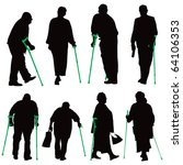 disabled old people vector...   Shutterstock .eps vector #64106353