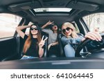 group of friends having fun on... | Shutterstock . vector #641064445