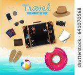 travel bag on beach background  ... | Shutterstock .eps vector #641070568
