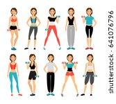 women in sportswear. sport... | Shutterstock . vector #641076796