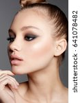 young model with smoky eyes... | Shutterstock . vector #641078482