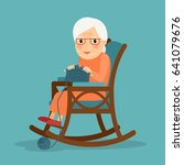 knitting. old woman knits.... | Shutterstock . vector #641079676