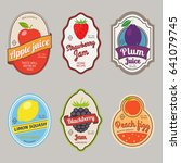 retro fruit posters or vintage... | Shutterstock . vector #641079745
