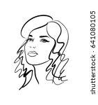 beautiful girl  sketch  vector   Shutterstock .eps vector #641080105