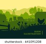 farm illustration background ... | Shutterstock . vector #641091208