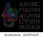 vector linear font. alphabet... | Shutterstock .eps vector #641091625