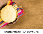 fresh yellow corn tortillas on... | Shutterstock . vector #641095078
