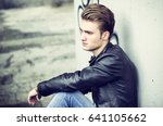 attractive blond young man ... | Shutterstock . vector #641105662