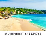 bali seascape with huge waves... | Shutterstock . vector #641124766