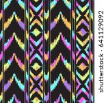 colorful ikat shapes in stripes ... | Shutterstock .eps vector #641129092