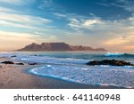 Small photo of Table mountain in cape town south africa scenic view from bloubergstrand at sunset