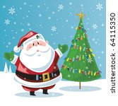 santa claus   christmas tree | Shutterstock .eps vector #64115350