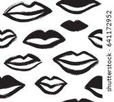 brush drawn various woman lips... | Shutterstock .eps vector #641172952