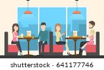 sitting in pizzeria. | Shutterstock . vector #641177746