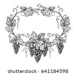 frame of grapes monochrome...   Shutterstock .eps vector #641184598