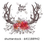 hand drawn deer horns with... | Shutterstock .eps vector #641188942