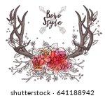 hand drawn deer horns with... | Shutterstock .eps vector #641188942