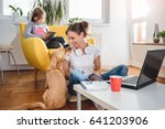 woman sitting on the floor and... | Shutterstock . vector #641203906