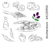pizza set | Shutterstock .eps vector #64120903