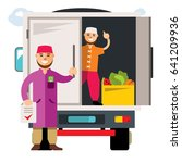 unloading truck. flat style... | Shutterstock . vector #641209936