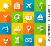 travel icons in flat design... | Shutterstock .eps vector #641218546