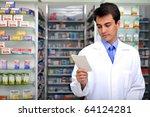 hispanic pharmacist reading... | Shutterstock . vector #64124281