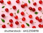 cherry pattern. flat lay of...   Shutterstock . vector #641250898
