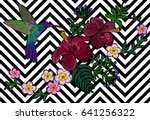 hawaii flower embroidery black... | Shutterstock .eps vector #641256322