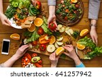 healthy vegetarian dinner table.... | Shutterstock . vector #641257942