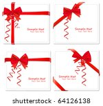 four cards with ribbons. vector. | Shutterstock .eps vector #64126138