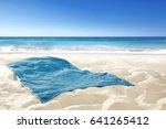 empty towel on sand and free...   Shutterstock . vector #641265412