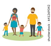 mixed race family with three... | Shutterstock .eps vector #641269342