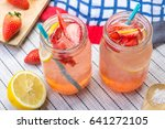strawberry lemonade soda fruit... | Shutterstock . vector #641272105