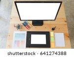 desk of graphic designer artist ... | Shutterstock . vector #641274388