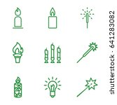 Glow Icons Set. Set Of 9 Glow...