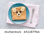 teddy bear toast for kids.... | Shutterstock . vector #641287966