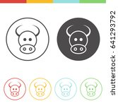 vector set of cow icons in thin ... | Shutterstock .eps vector #641293792