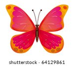 Stock vector a beautiful red butterfly isolated 64129861