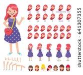 flat vector girl character for... | Shutterstock .eps vector #641307355
