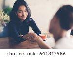 business woman holding hand...   Shutterstock . vector #641312986
