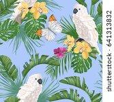 white parrot  tropical leaves ... | Shutterstock .eps vector #641313832