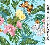 tropical leaves  cacti  flowers ...   Shutterstock .eps vector #641313865